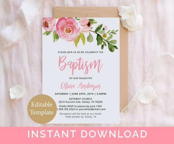 Baptism Girl Invitation Template Floral Baptism Pink Christening Invitation Printable Baby Girl Baptism Invite Diy Editable Template By Sweet Rain Design Catch My Party
