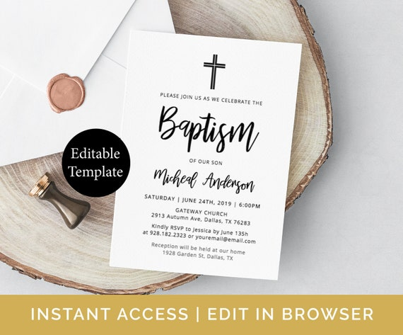 simple baptism invitation template diy baptism invite etsy