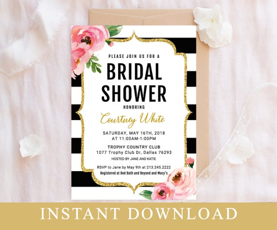 Bridal Shower Invitation Template Floral Bridal Shower Invite Etsy