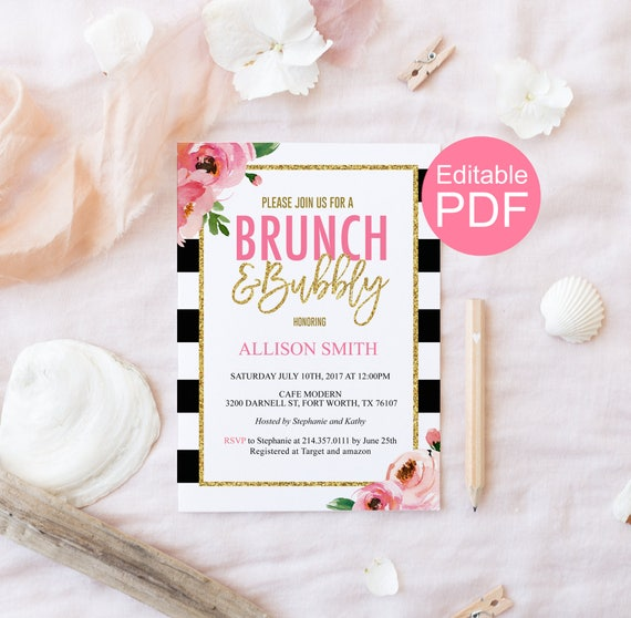 brunch and bubbly invitation template kate bridal shower etsy