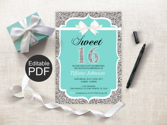 Sweet 16 Invitation Template Blue Sixteen Invites Breakfast At White Bow Birthday 16th Party Ideas Printable DIY