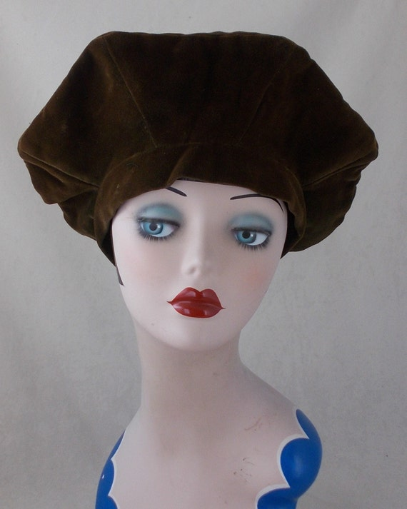 French original 1940s vintage panne velvet halo ha