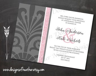Gray & Pink Damask Digital Rehearsal Dinner/Bridal Shower Invitation