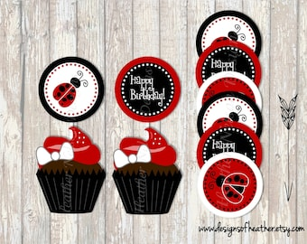 Lady Bug Digital Circles- Stickers, Tags, or Cupcake Toppers