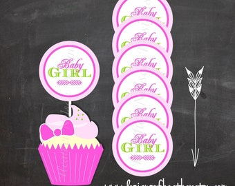 Pink Baby BBQ Digital Circles- Stickers, Tags, or Cupcake Toppers