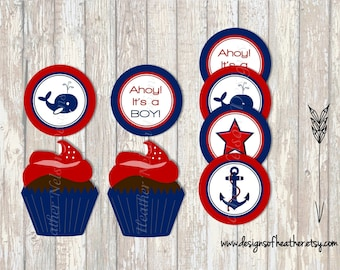 Nautical Baby Shower Digital Circles- Stickers, Tags, or Cupcake Toppers