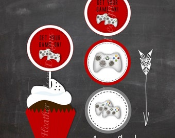Red and Gray Video Game Digital Circles- Cupcake Toppers, Stickers, Tags