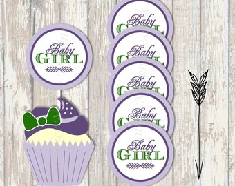 Purple Baby BBQ Digital Baby Shower Circles- Cupcake Toppers, Stickers, Tags