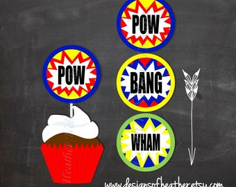 Digital Super Hero Circles- Tags, Cupcake Toppers, Stickers