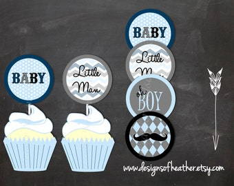 Mustache Bash Digital Circles- Stickers, Tags, or Cupcake Toppers