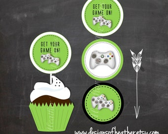 Video Game Digital Circles- Stickers, Tags, or Cupcake Toppers