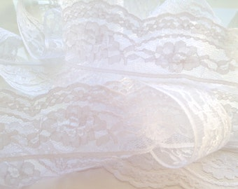 White Tricot Lace - 40mm