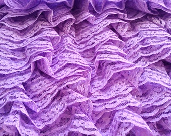 Lilac Frilled Tricot Lace - 40mm