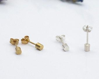 silver earring 925 sterling silver 1.7 mm thick cylinder bar silver stud earrings ear piercings silver ear stud