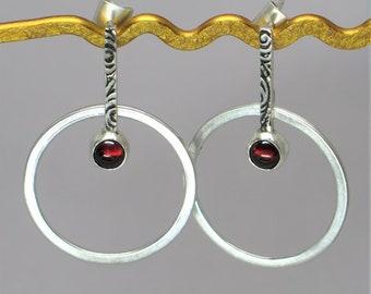 Sterling silver garnet hoop earrings. Garnet earrings. Gemstone earrings. Gift for her. Minimalist earrings. Silver hoop earrings. Handmade