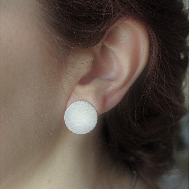0259f6dc2 Sterling silver flat disc stud earrings Geometric earrings in   Etsy