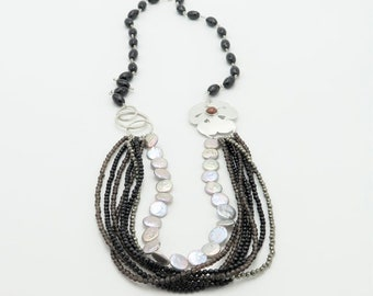 Extra long sterling silver multi strand necklace with coin pearls, smoky quartz, black agate and pyrite. Multi gem layered necklace set