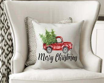 christmas tree truck pillow cover faux burlap christmas pillow merry christmas pillow cover burlap pillow case christmas truck pillow - Burlap Christmas
