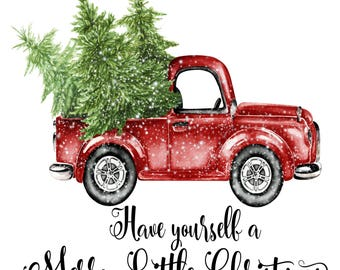 merry christmas tree truck holiday iron on ready to press transfer christmas design merry christmas iron on christmas tree truck