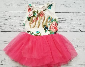 88a295fa7d802 First Birthday Outfit, First Birthday Dress, Pink and Gold Birthday Outfit,  Floral First Birthday Dress, 1st Birthday Outfit, First Birthday