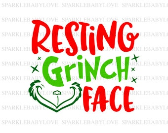 resting my grinch face holiday iron on ready to press transfer christmas design merry christmas iron on