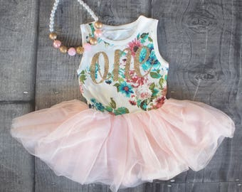 First Birthday Outfit Dress Pink And Gold Floral 1st