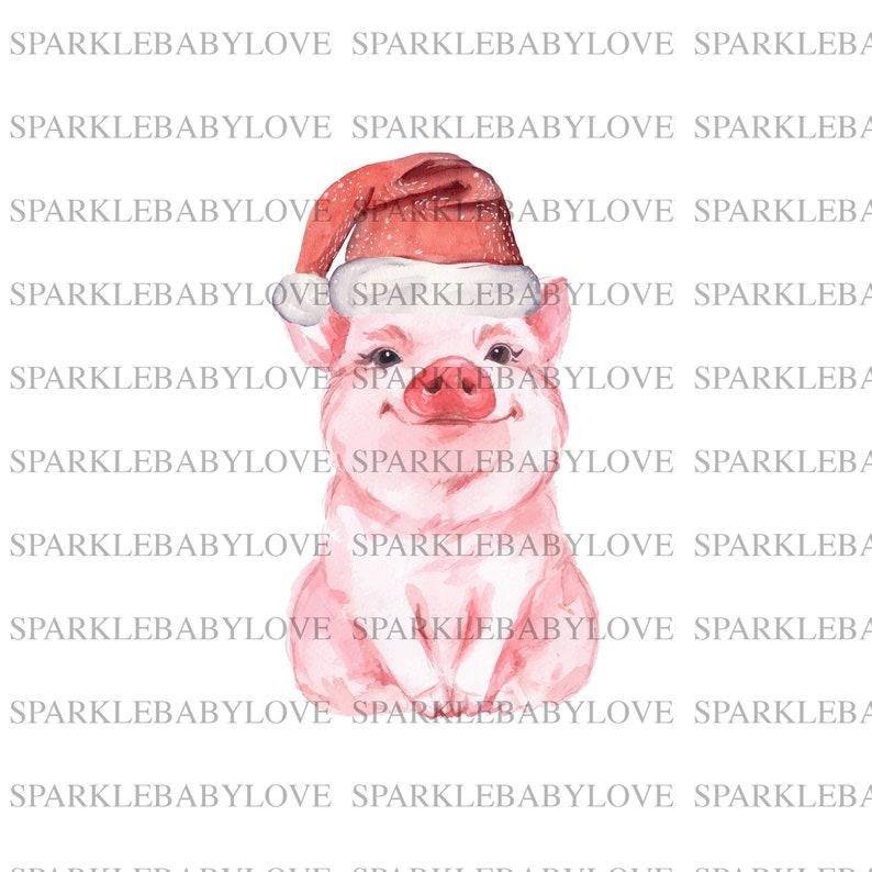 Christmas pig sublimation transfer Pig Santa Iron On Ready To Press Transfer design Sublimation Design Sublimation Transfer