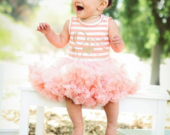 First Birthday Outfit Dress / peach and Gold Birthday Outfit / First Birthday Outfit Girl / Baby First Birthday Girl / First Birthday Dress