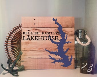 Custom Lake Sign, The Family Lakehouse - Hand painted, Wood Sign