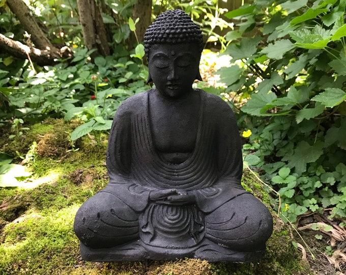 "Featured listing image: Buddha, Hand Cast Black Volcanic Stone, Indonesia, 6.5 LBS, 8.5"" Tall, RIT33600"