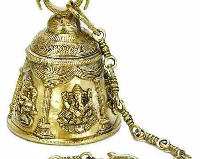 "Featured listing image: Solid Brass Ganesha Temple Bell with Heavy Chain and Hook, 5 LBS+, 6"" Tall, 33"" Chain"