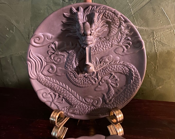 Featured listing image: Dragon Plate Ceramic Backflow Incense Burner, Includes Box of Incense, Matching Stick Burner, and Brass Plate Holder, 3 Piece Set