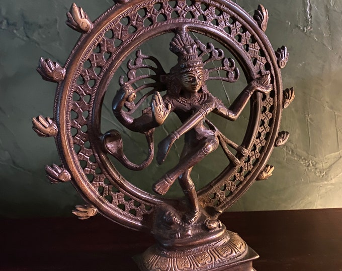 """Featured listing image: Nataraja, 9.5"""" Dancing Shiva, The Cosmic Dance, Solid Brass, Natural Brass, Antique Bronze Finish, India, 3 LBS+, RIT8786"""