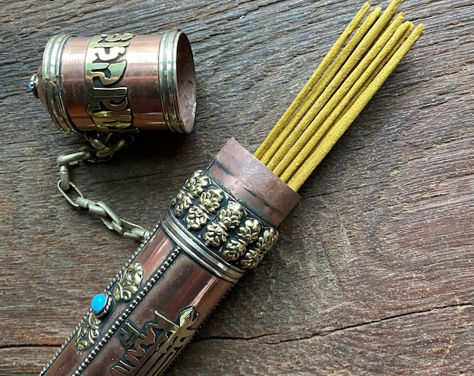 """Featured listing image: Tibetan Om Mani Incense Holder, Nepal, Copper & Brass, Turquiose and Coral inlaid stones, 11"""""""