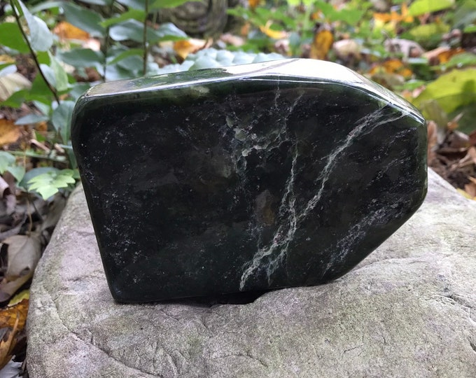 Featured listing image: 1.4 LBS JADE, Nephrite Standing Stone, Deep Green Polished Stone, 647.8 Grams, 22.85 Ounces, 1.43 LBS, CR4554
