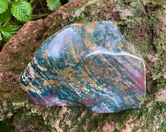 1/2-2/3 LB Large Bloodstone, Polished Cabinet Stone, Intense Healing, India, 270.20 Grams, CR9264
