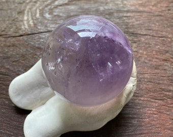 3/4 LB+ Amethyst Sphere, Silver Veils, Rainbow Points, Polished, Brazil, Stand Included, 343.60 Grams, CR8206