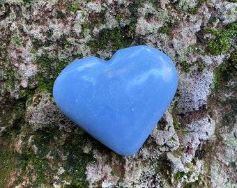 Angelite Polished Heart Stone, 74.00 Grams, Peru, CR9247
