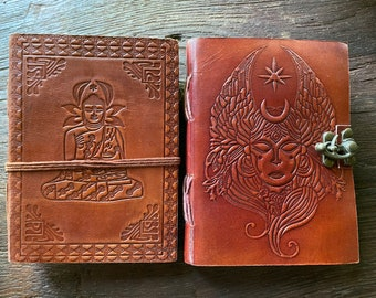 """Leather Journal, 5x7""""  Handmade Paper, Choose Buddha with Leather Wrap OR Goddess with Brass Latch, Pen Included"""