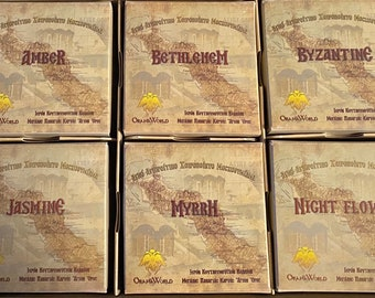 Mt. Athos Monastery Incense, Resin for Charcoal, Choose a Scent, 100 Grams, 3.5 Ounce Box