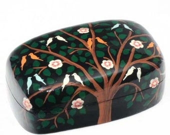Papier-Mâché Tree Of Life Handmade Box, Hand Painted, Two Sizes, BX9219