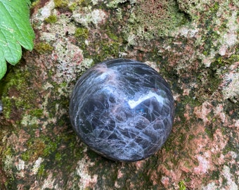 Black Moonstone Polished Palm Stone, 107.90 Grams, India, CR8733