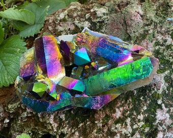 2/3 LB- Titanium Flame/Rainbow Aura Quartz Cluster, Bridge Crystals, Etched, 281.70 Grams, CR9081