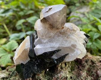Tourmaline in Smokey Quartz Cluster, Raw, 211.20 Grams, Brazil, CR9216