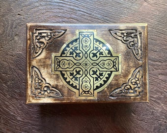 Mt. Athos Wooden Incense Box, Brass Details, Handmade, Includes Mt. Athos Resin Incense Sample, 2 Sizes, RIT8744