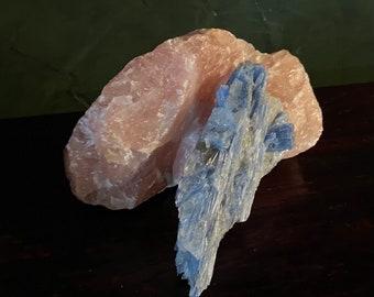 Blue Kyanite Cluster with Quartz & Mica Cluster, Brazil, 111.00 Grams, CR8189