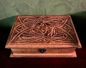 Large Wooden Storage Box, Carved Details, Handmade, 2-1/2 LBS, Includes Incense, RIT9220