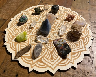 """Wooden Crystal Grid, Lotus Mandala, 11.5"""" Diameter, Includes 17 Crystals & Stones as Shown, Indonesia, CR9196"""