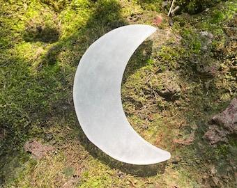 "SELENITE Crescent Moon, Hand Carved, 50 Grams, 4"", CR8743"