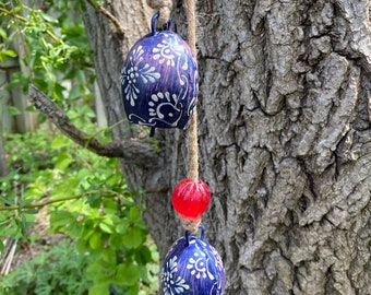 Hand-Painted Hanging Harmony Bells on Rope with Glass Beads, Light or Dark Blue, Please Choose